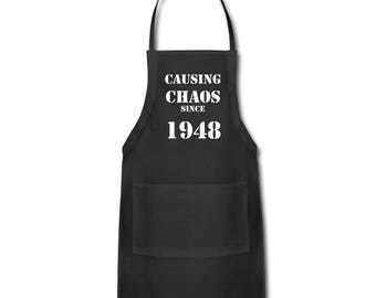 70th Birthday, 70th Birthday Gift Ideas - Unique Apron - Causing Chaos Since 1948 Apron Gift -  Memorable Birthday Gifts