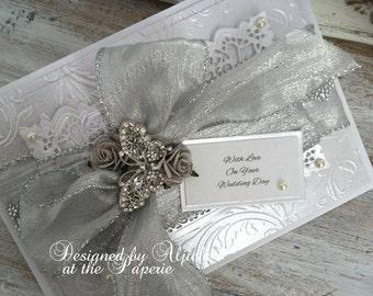 Wedding Card, Handmade, Personalized, Silver Wedding, Engagement, Wife, Fiancee