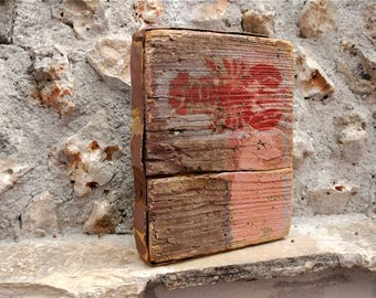Driftwood Cube, Painted Driftwood, Driftwood Art, Driftwood Decor, Reclaimed Wood, Crab Decor