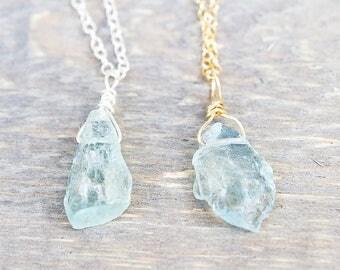 Raw Aquamarine Pendant - Rough Aquamarine Pendant - Aquamarine Necklace - March Birthstone - Aquamarine Stone - Aquamarine Pendant