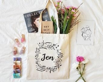 Personalised Tote Bag , Bridesmaid Gift , Bridesmaid Tote Bag , Custom Floral Tote Bag , Monogrammed Bag , Floral Tote , Custom Tote
