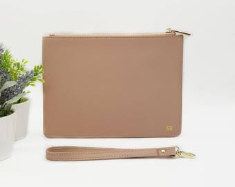 Nude Monogrammed Leather Clutch - Blush Pink Leather Bag - Genuine Leather Bag - Zipper Pouch - Gift for Her - Personalized Gift - Monogram