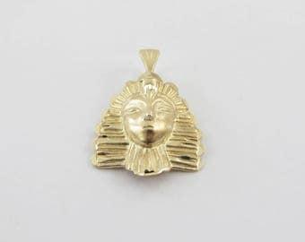 14k Yellow Gold Egyptian Head Charm Pendant