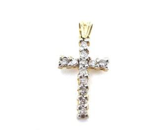 14k Yellow Gold Diamond Cross Pendant - Unisex Diamond Cross