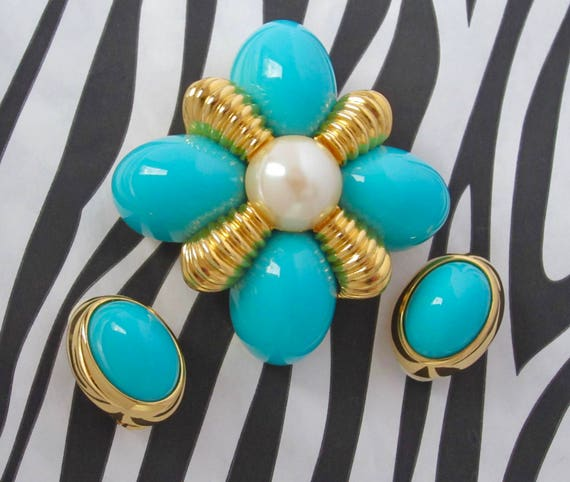 Joan Rivers signed turquoise & pearl bead Maltese Cross Pin, Earring set ~pretty, substantial, vintage costume jewelry