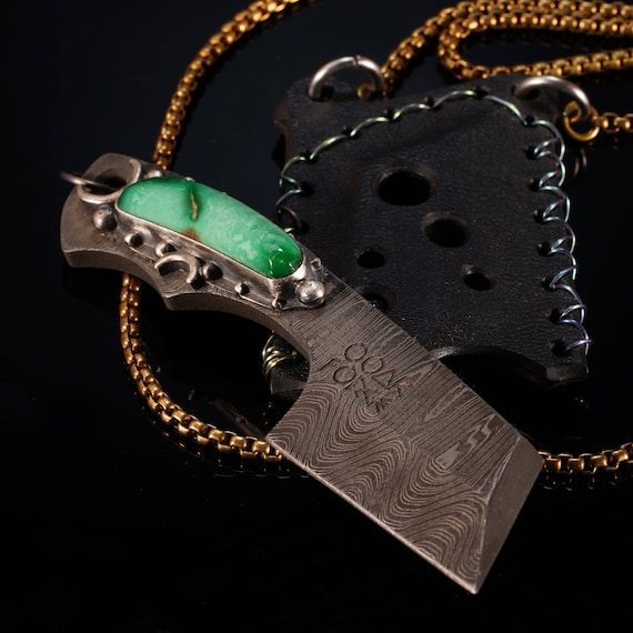 Chrysocolla Cleaver Neck Knife
