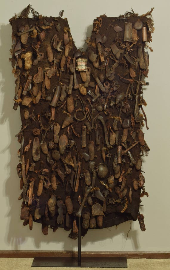 African Hunters Shirt Bamum Tribe Cameroon Spiritual Objects Protection Hunter Amulet Shirt