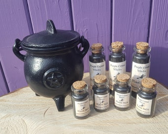 Witches Black Salt, Glass Vial, Portable Protection, Apothecary Jar, Wiccan Altar, Spiritual Cleansing, Home Blessings, Miniature Pagan