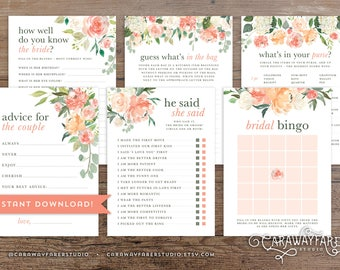 Printable Floral Bridal Shower Game Package Set Bundle Wedding Shower Game Activities Bridal Shower Game Bingo He Said She Said Peach Rustic