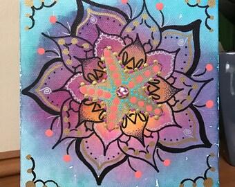 Custom Painting on Canvas, Hand Painted/Original Mandala Art/Made-to-order/Personalized/Flower Design/Starfish/Boho Art