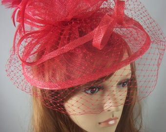 Red Sinamay Fascinator With Birdcage Veil - Occasion Wedding Races