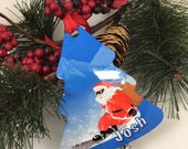 Santa, Snowboarding, Holiday Christmas Ornament, Personalized Christmas Decoration, Double sided