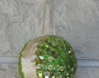 Handmade Light Green Sequins And Patterned Cream Satin Ribbon Christmas Tree Decoration - Free Shipping