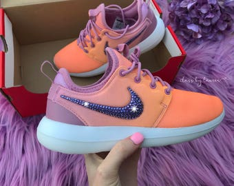 Swarovski Nike Roshe Two Coral Purple