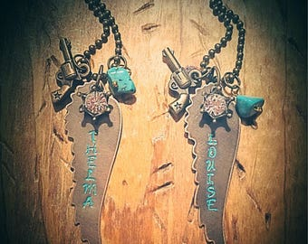 Hand Stamped Winged Charm Necklace Thelma and Louise Best Friends Set