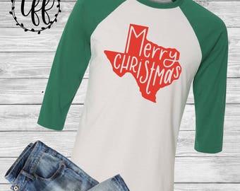 Texas Merry Christmas Baseball Tee | Holiday T-shirt | Christmas Shirt | Texas Christmas Tee | MORE COLORS AVAILABLE