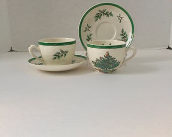 pair spode christmas tree teacup and saucer set vintage excellent condition s3324