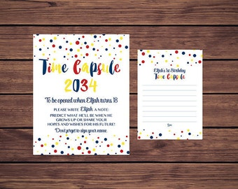 Time Capsule Sign and Card, First Birthday Time Capsule, Baby's Time Capsule Blue Confetti Red Blue Yellow Confetti PDF Printable
