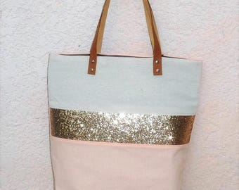 Tote coral peach/beige band, gold glitter camel leather handles