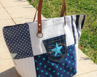 Designer linen patchwork tote bag fabric/beige dots/stripes blue, camel leather pocket star turquoise leather handles