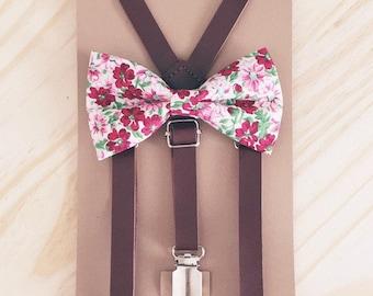 Dark brown Groomsmen Outfit Floral bow tie Little Boy Suspenders Rustic Wedding Suspenders Floral Baby Bowtie Suspenders wedding baby Braces