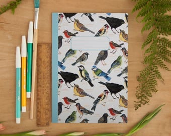 British Garden Birds Pattern Notebook | Illustrated A5 Notebook | Notebook | A5 Notebook | Bird Pattern | Notepad | Journal | Bullet Journal