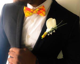 Bow tie set + brooch flower orange madras