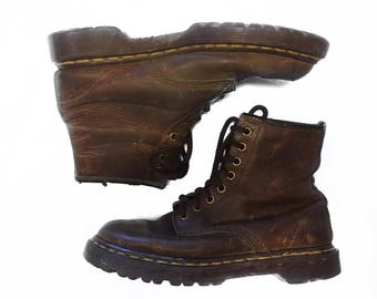 Vintage Dr. Martens Brown Leather Lace Up Combat Ankle Boots