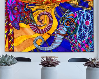 Elephants Tapestry by Phil Lewis