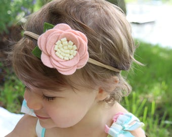 Felt Flower Nylon Headband- CHOOSE ANY COLOR, 40+ Colors/ Felt Flower Headband / Flower Headband / Baby Flower Headband / Felt Rose Headband