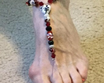 Beaded barefoot sandals in Red, black and white. Glass beads