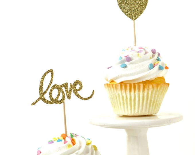 Heart/Love Gold Glitter Cupcake Toppers, Gold Love Toothpicks, Gold Party Decor, Food Decoration, Valentines Day, Wedding Decor, Engagement