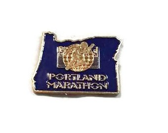 Portland Marathon Enamel Pinback Dark Blue & Gold Lapel Pin Oregon Tie Tack Runners Hat Pin