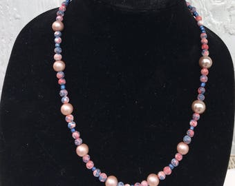 Clear Pink Beaded Matinee Necklace