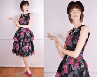 80s Does 60s Abstract Floral Ruffle Party Dress/ Vintage/ Retro/ Glam/ Prom/ Metallic/ Black/ Magenta/ Blue/ Formal/ Evening/ Holiday
