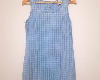 Vintage Blue Tartan Dress