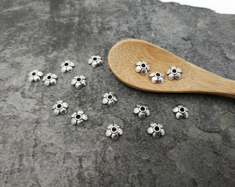 Cups flowers, Openwork, flower bead caps caps brass, silver, 11 x 2 mm