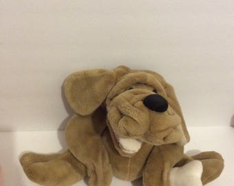 Vintage Wrinkles the Dog Plush Hand Puppet with Bone