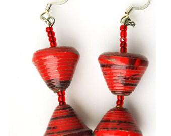 Red Earring, Artisan Earring's, Drop Earring's, Iridescent Earring, Deco Earrings, Handcrafted Earrings, Boho Earrings, Vintage Style