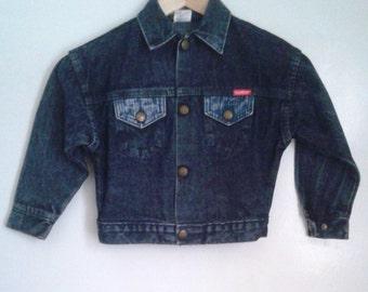 Vintage 1980's Kids' Oshkosh Dark Blue Jean Striped Denim Jacket sz 4 Classic Rustic