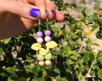 Dangle Earrings // Easter Earrings // Spring Pastel Earrings // Metalwork and Beaded Earrings // Purple and Pink // Peach and Yellow Pastel