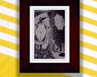 """""""Plage"""" Nude Beach Drawing [4x6"""" in 7x9"""" frame]"""