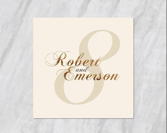 Gold Foil Lettering - Double Sided Table Number