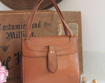 Vintage Tan Leather Handbag/Quality Design Handbag/1970/80's Handbag(Ref1957G)