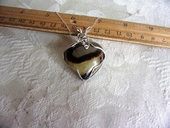 Septarian in Silver - Heart Shaped