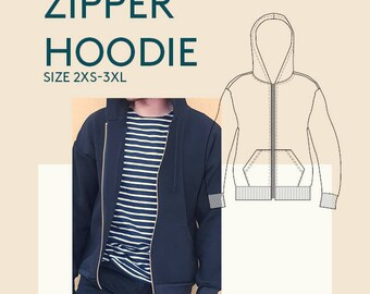 Men's digital pdf zipper hoodie pattern|Mens PDF sewing patterns|zipper jacket PDF pattern|Zipper sweater PDF sewing pattern tutorial