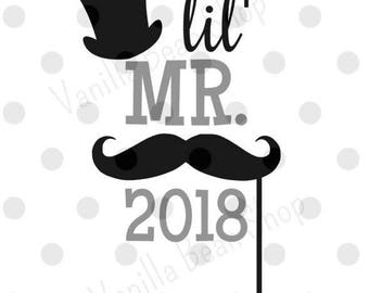 New Year svg/dxf/pdf/jpg, 2018 svg, lil' Mr. 2018 svg, new year's eve svg file, new year's eve download, new year's eve cut file, 2018