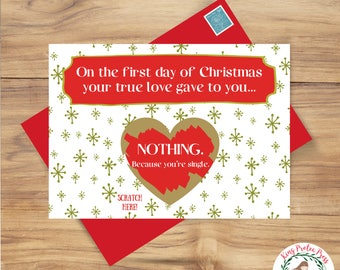 Funny Christmas Card, Funny Christmas Card Scratch Off, Scratch off Christmas Card, Single Awareness Card, Christmas Card for Sister