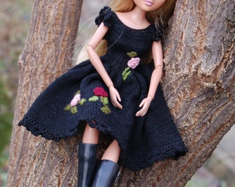 Moxie Teenz clothes Knitting for dolls  14 inch Handmade clothes Black dress for doll  Vintage Moxie Teenz clothes dress