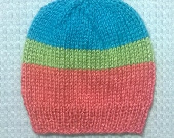 Hand Knit Baby Hat ~ 0-6 Months ~ Pink, Blue and Green